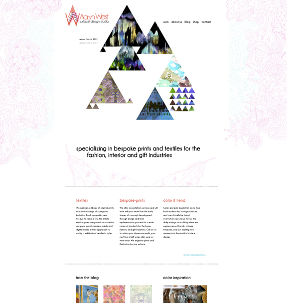 website design by aaryn nutter for aaryn west